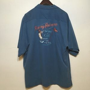Tommy Bahama Turquoise King of Cool Button Up Top